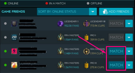 Play against online friends