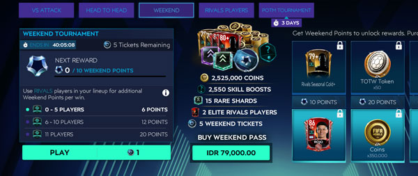 FIFA Mobile Weekend Tournament in Division Rivals
