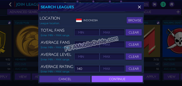 FIFA Mobile Search Leagues Options