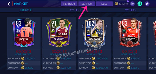 How to Buy Players in the Market (Step 1)