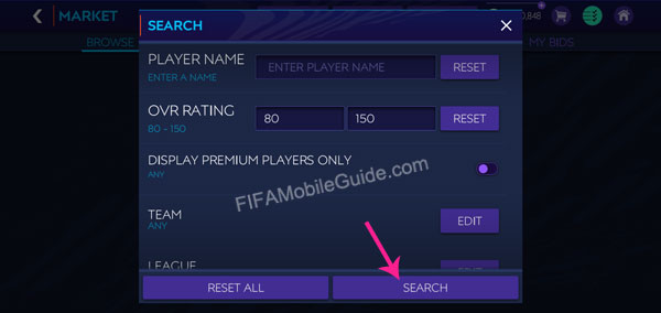 How to Buy Players in the Market (Step 2)