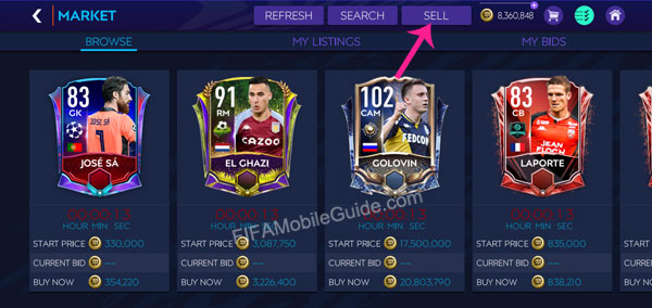 How to Sell Players in the Market (Step 1)